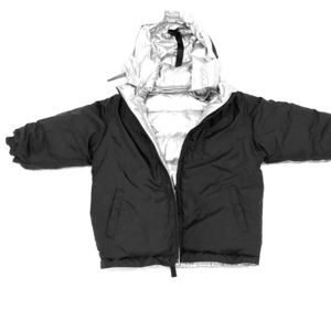 Gap kids Black/Silver Reversible Puffer Coat